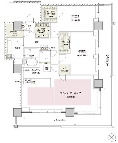 現地モデルルームの間取り③ NE-114タイプ(プレミアム住戸) 出典:公式HP
