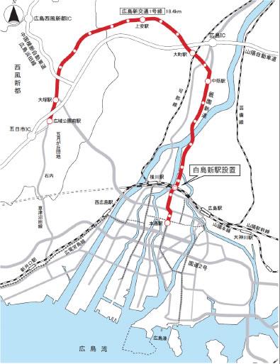 アンケート対象の広島市の路線図 出典:広島市公式サイト