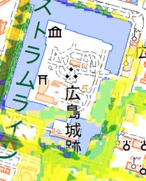この辺り(拡大) 出典:広島市防災情報マップ
