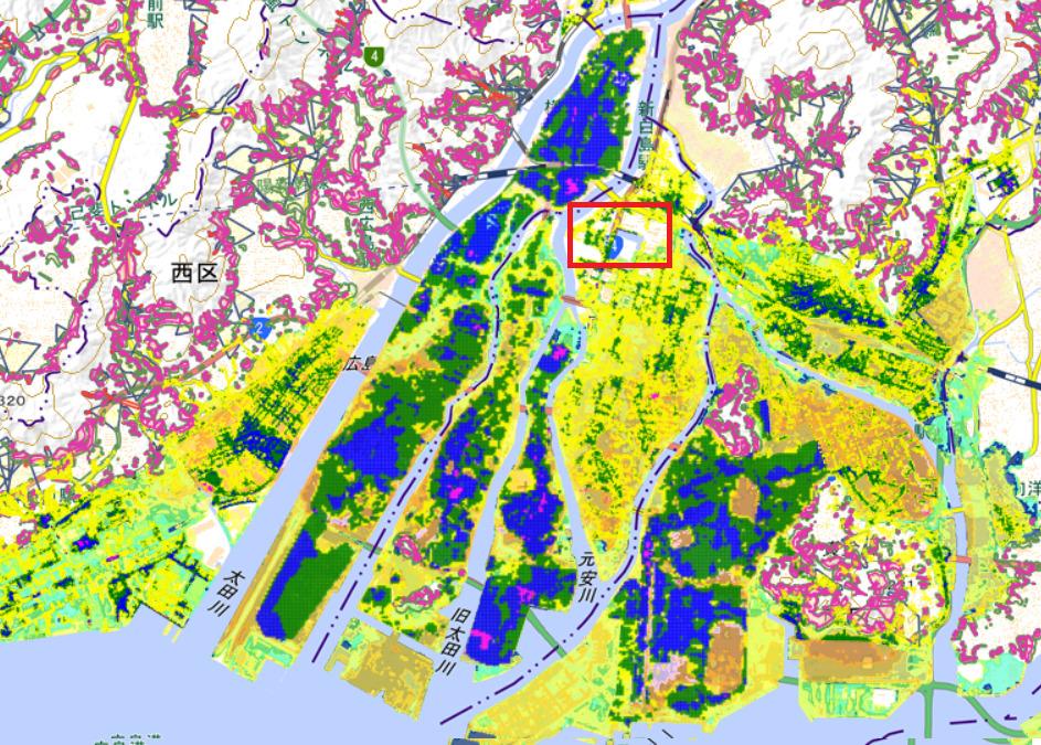 この辺り 出典:広島市防災情報マップ