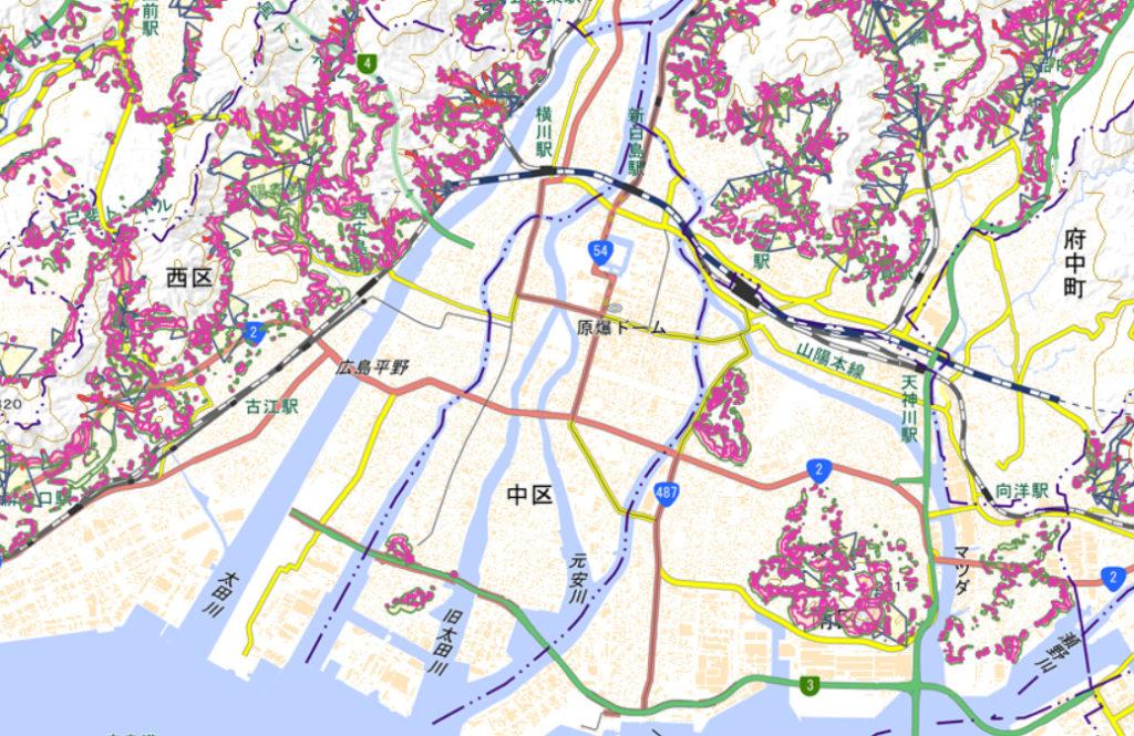 土砂災害警戒区域 出典:広島市防災情報マップ