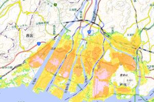 津波浸水想定区域 出典:広島市防災情報マップ