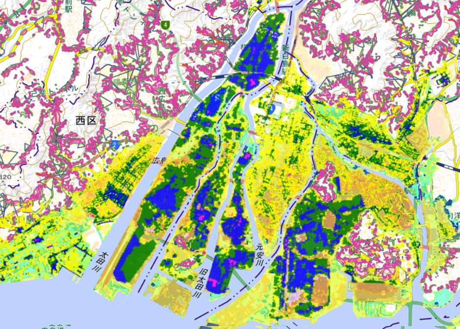 災害想定区域全部乗せ 出典:広島市防災情報マップ