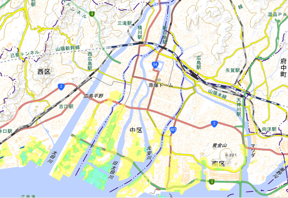 高潮の浸水想定区域 出典:広島市防災情報マップ